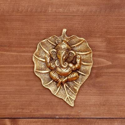 White metal gold oxidised leaf ganesha hanging return gift