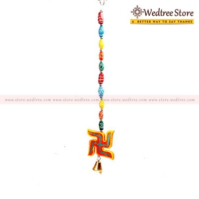 Swastik Beads - Thoran with swasthik beads made of wood return gift