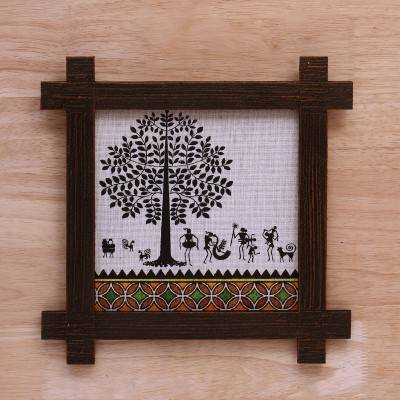 Wooden Wall Hanging - Jute Art Warli 11 x 11 return gift