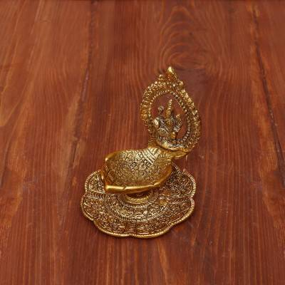 White Metal Lakshmi Hand Diya with Gold Finish return gift