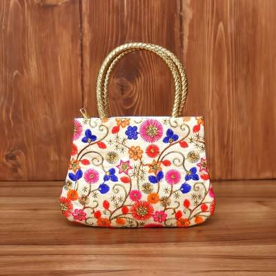 Hand Bag Thread Embroidery Work with golden handle return gift