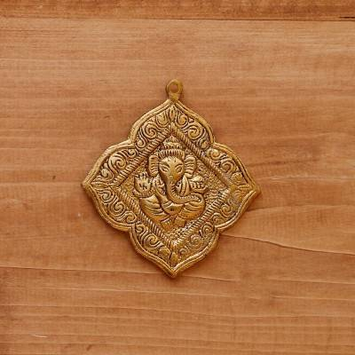 White Metal Pendant Ganesha Gold Oxidised Big return gift