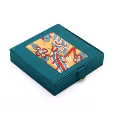 Earring box - Earring Box made of silk & kalamkari fabric return gift