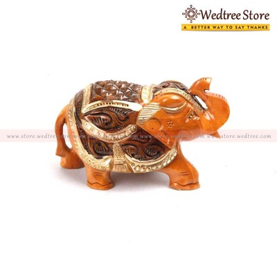 Wooden Elephant - Elephant carved in wood with gold painting return gift