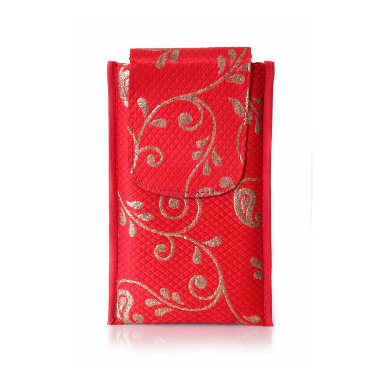 Mobile holder - mobile pouch with glitter flower design return gift