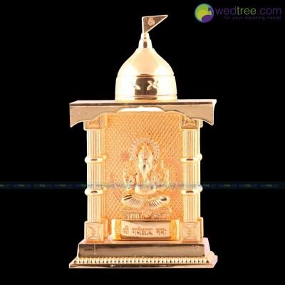 Ganesha Mandap - Ganesha made of zinc alloy with gold electro plating return gift