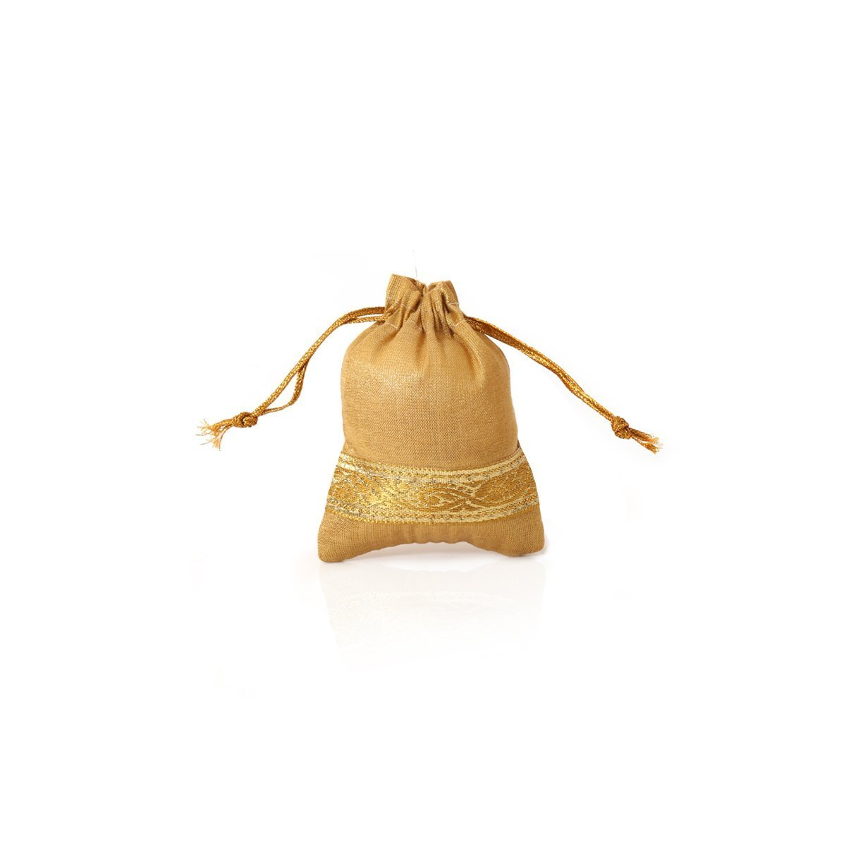 Mini String pouch with golden zari Indian return gift