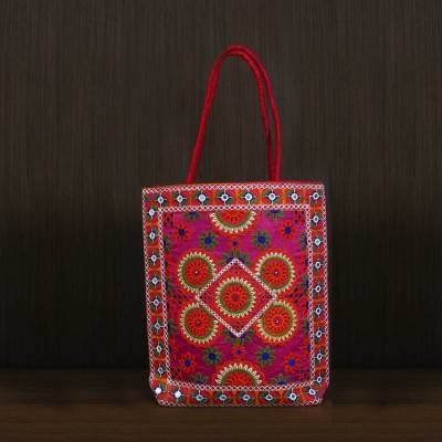 Shoulder Bag with colourful thread embroidery work - Indian return gift