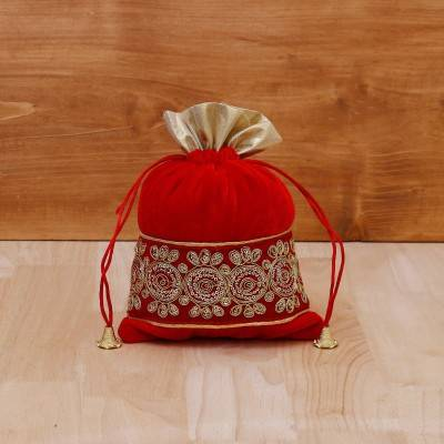 String Bag velvet with golden thread embroidery return gift