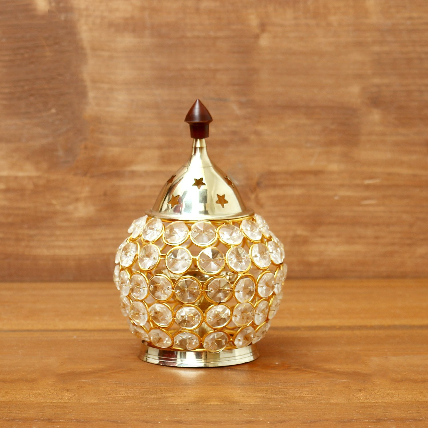 Decorative Matki shaped Crystal and Brass Diya return gift