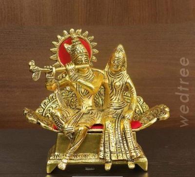 White metal gold finish Radha Krishna return gift