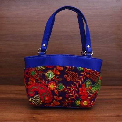 Hand Bag with thread embroidery & mirror work Indian return gift