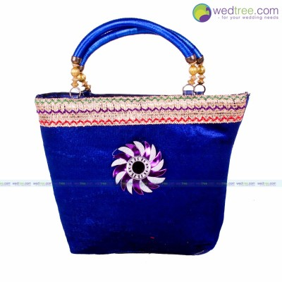 Hand Bag  - Hand bag made of velvet with golden lace and Motif return gift