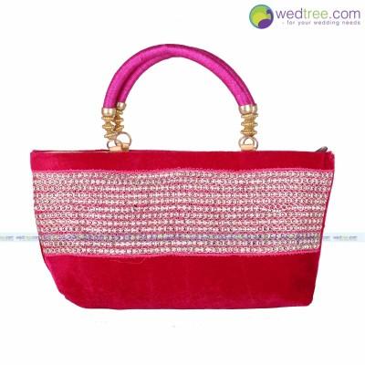 Hand Bag - Hand bag made of velvette fabric with chamki work return gift
