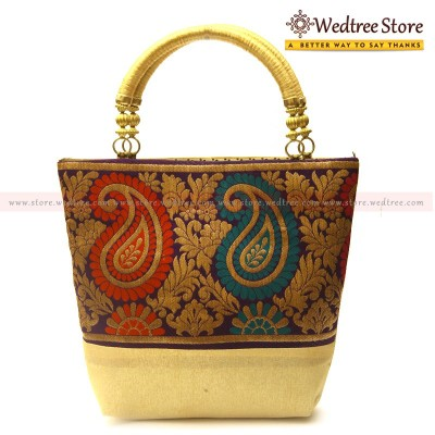 Hand Bag - Hand bag made of raw silk fabric with mango design return gift