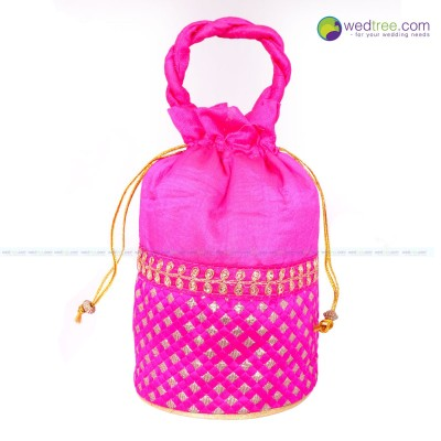 Polti Bag  - Potli Bag made of satin material with golden dots and golden embroidery return gift