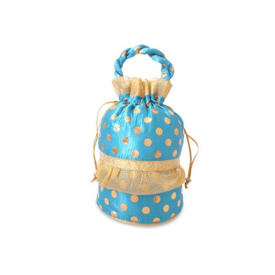 Potli Bag - Potli Bag is made of raw silk with full of golden dots return gift