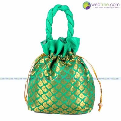 Potli Bag  - Potli bag made of brocade fabric with golden mango checks return gift