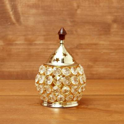Decorative Matki shaped Crystal and Brass Diya 2 inch return gift