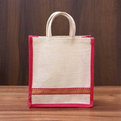 Jute Bag with zari lace - Indian return gift