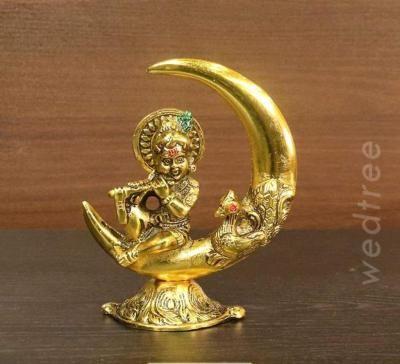 White metal gold finish Krishna with moon return gift