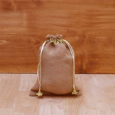 Jute String Bag with gold lace return gift