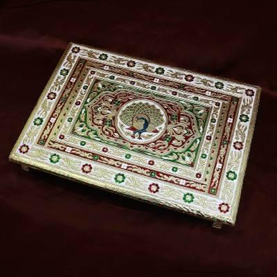 Minakari Golden manai 21 X 15 inch Indian return gift