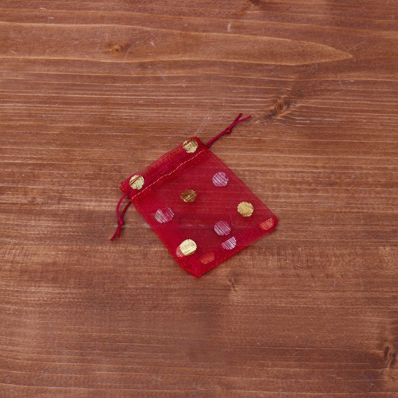 Transparent mini string bag with polka dots return gift