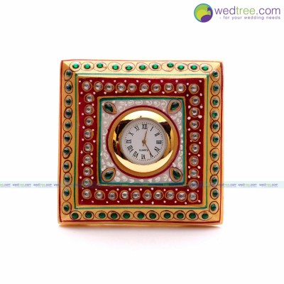 Clock - Clock is made of marble with hand painting and stone work return gift