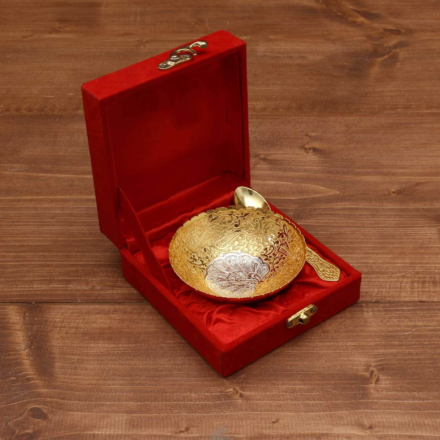 Silver & Gold Plated Bowl 4 inch with Spoon return gift