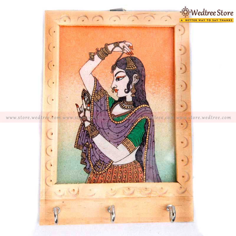 Wooden Gem Stone - Gemstone Painting is an art from the state of Rajasthan  the usage of natural semi precious stones with right colour combination makes it look vibrant & rich return gift