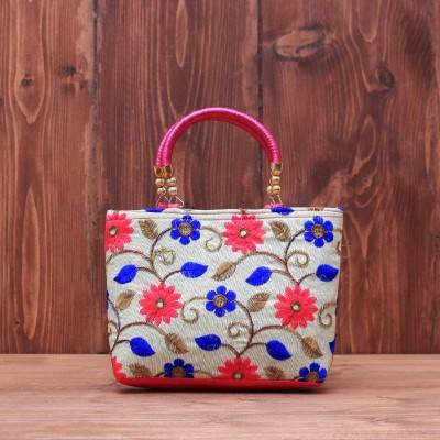 Hand bag raw silk with floral embroidery return gift