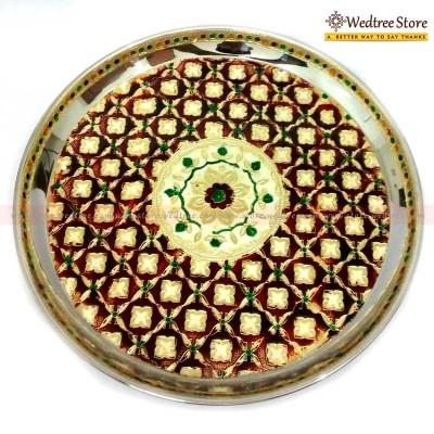 Plate - Stainless plate with minakari work.
