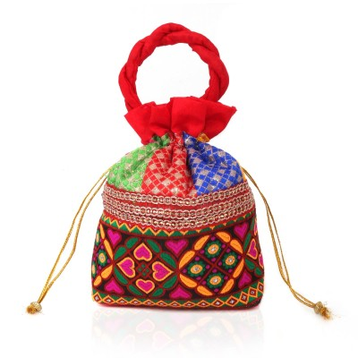Potli bag - flower thread embroidery and Lace-W2982 return gift