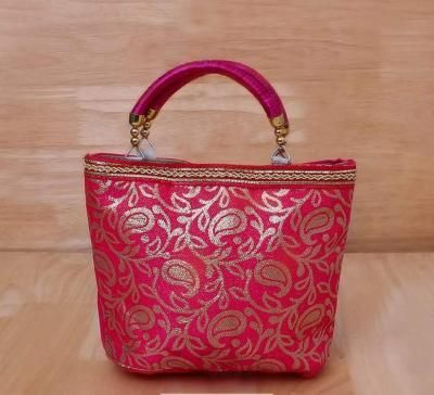 Hand Bag raw silk with floral & mango design return gift