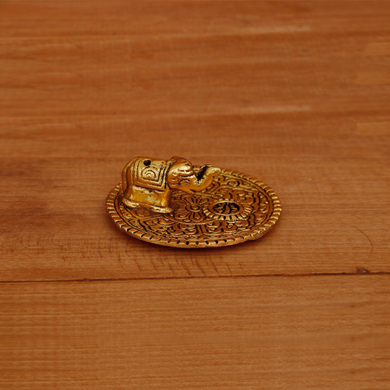 White metal Elephant Agarbathi stand Gold finish return gift