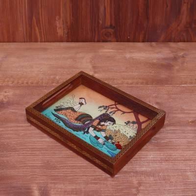 Dark Wood Gemstone Painting Tray 8 X 6 inch return gift