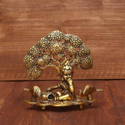 White Metal Laddu Gopal with Tree Gold Finish return gift