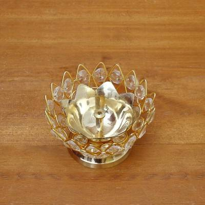 Decorative Bowl shaped Crystal and Brass Flower Diya 3 inch return gift