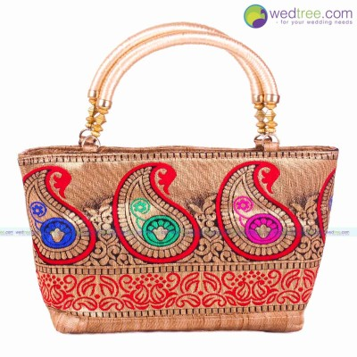 Hand Bag  - Hand bag made of raw silk with rich golden mango design return gift