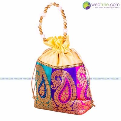 Potli Bag  - Potli Bag gold satin with brocade mango prints return gift