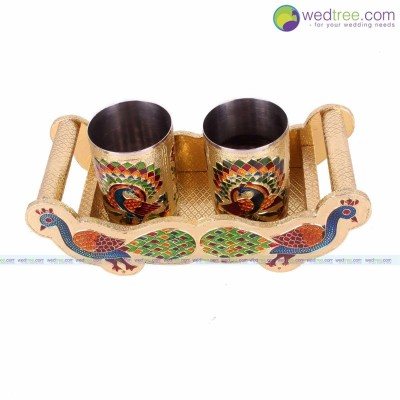 Peacock Tray Set - Minakari peacock try set made of wood with minakari work & stainless steel glass with minakari painting.