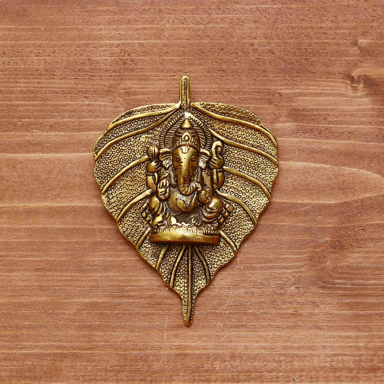 White Metal Pipal leaf ganesha Gold Finish return gift