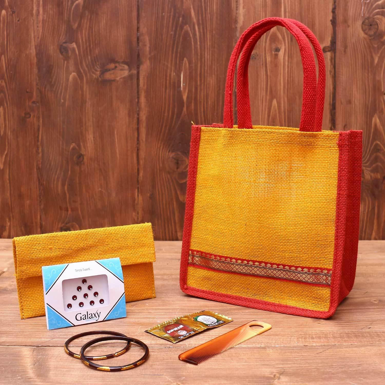Gift Combo Jute Purse with Minakari Manai 2 x 2 inch return gift