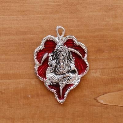 White Metal Pendant Leaf Ganesha Silver Minakari  return gift