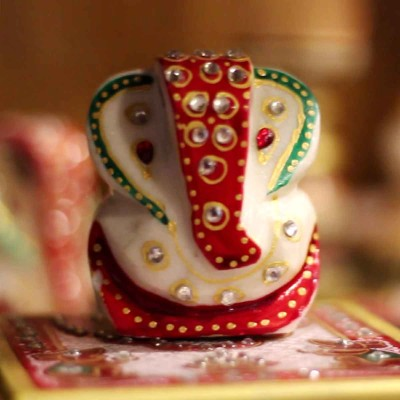 Marble Ganesha - Ganesha----the god of beginnings  he is honoured at the start of rituals and ceremonies return gift