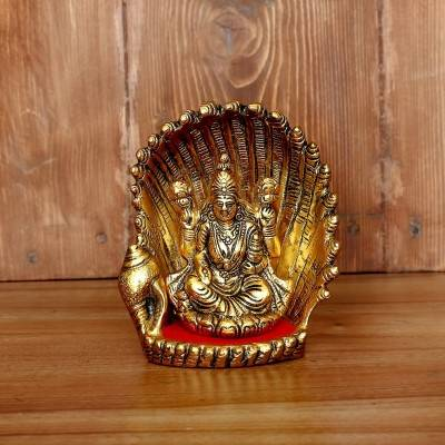 White Metal Lakshmi on shell with Gold Finish return gift