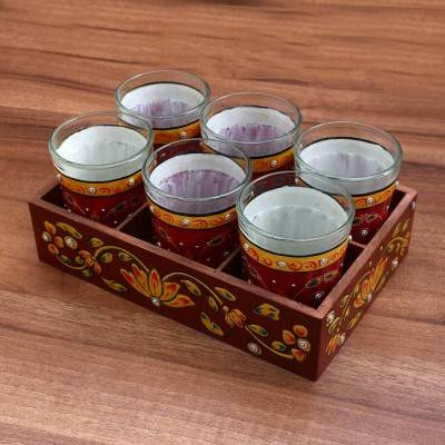 Paper Mache Tray with 6 Glass Indian return gift
