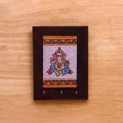 Wooden Key Hanger with Jute Art Ganesha return gift