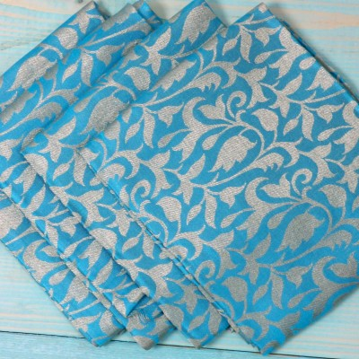 Brocade Blouse Bit - Brocade Blouse Bit Blue Floral Design - Pack of 10